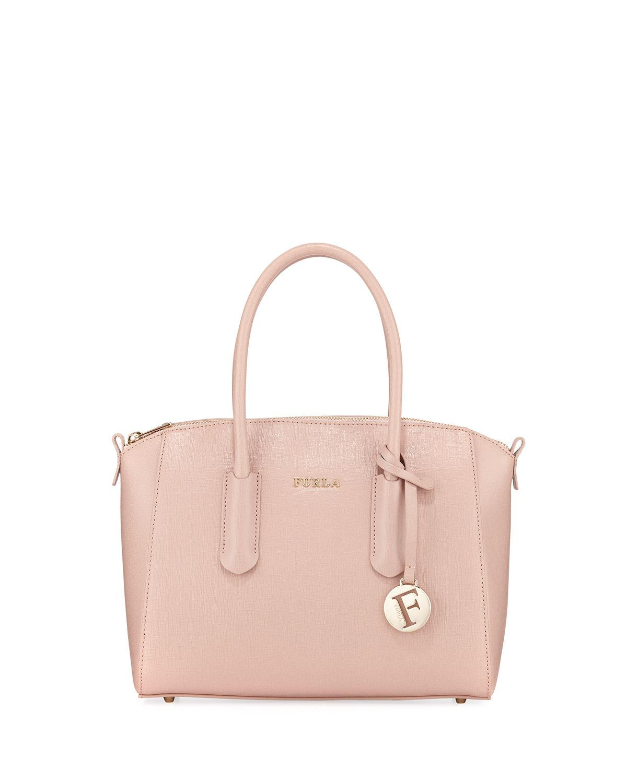 Furla Tessa Small Saffiano Leather Satchel Bag In Moonstone