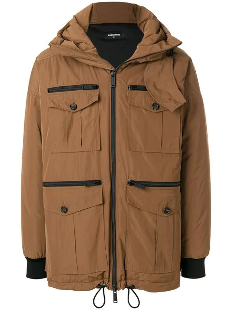 Dsquared2 Hooded Parka Jacket In Brown