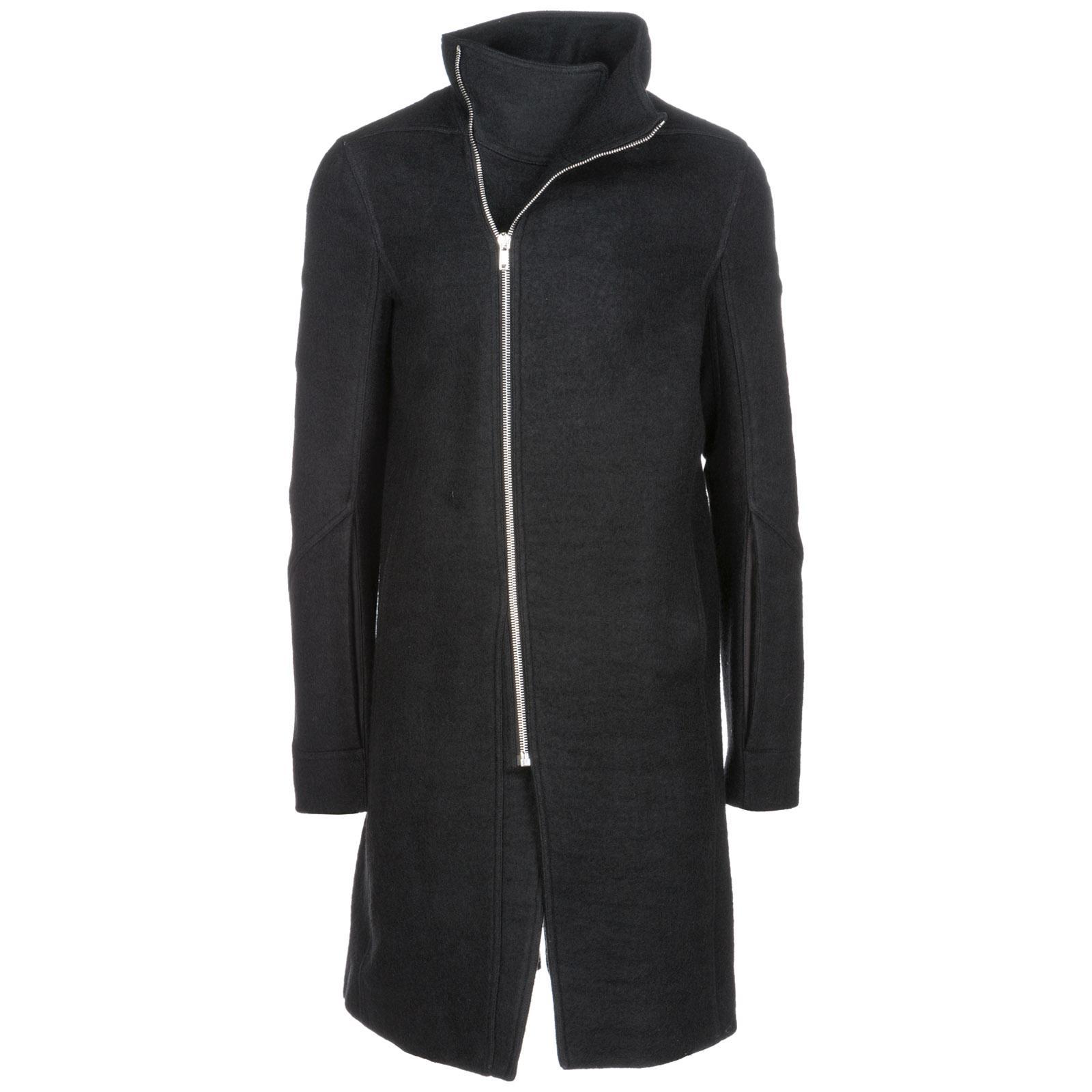 Rick Owens Men's Coat Overcoat In Lana In Black