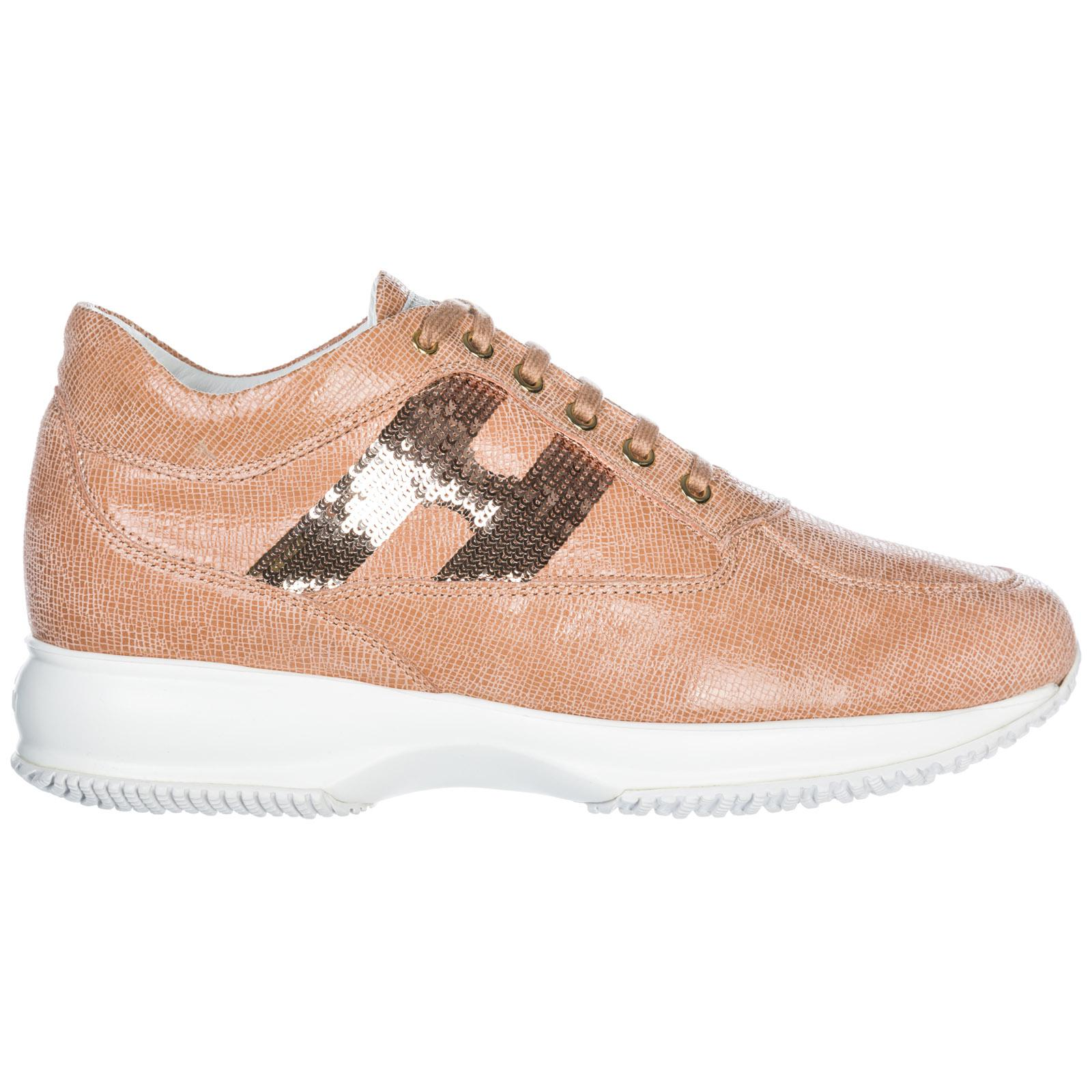 Hogan Women's Shoes Leather Trainers Sneakers Interactive In Pink