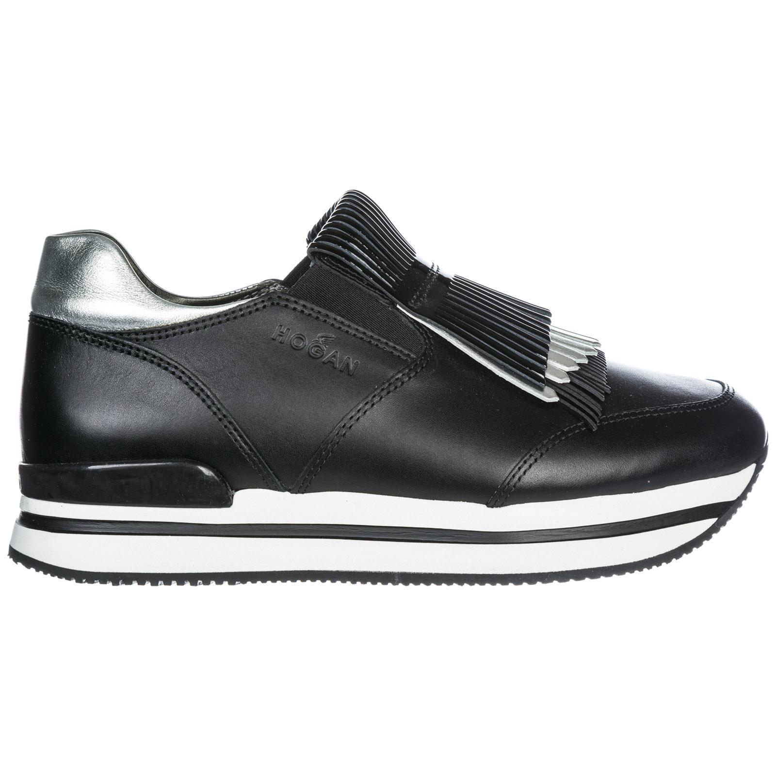 Hogan Women's Leather Slip On Sneakers  H222 In Black