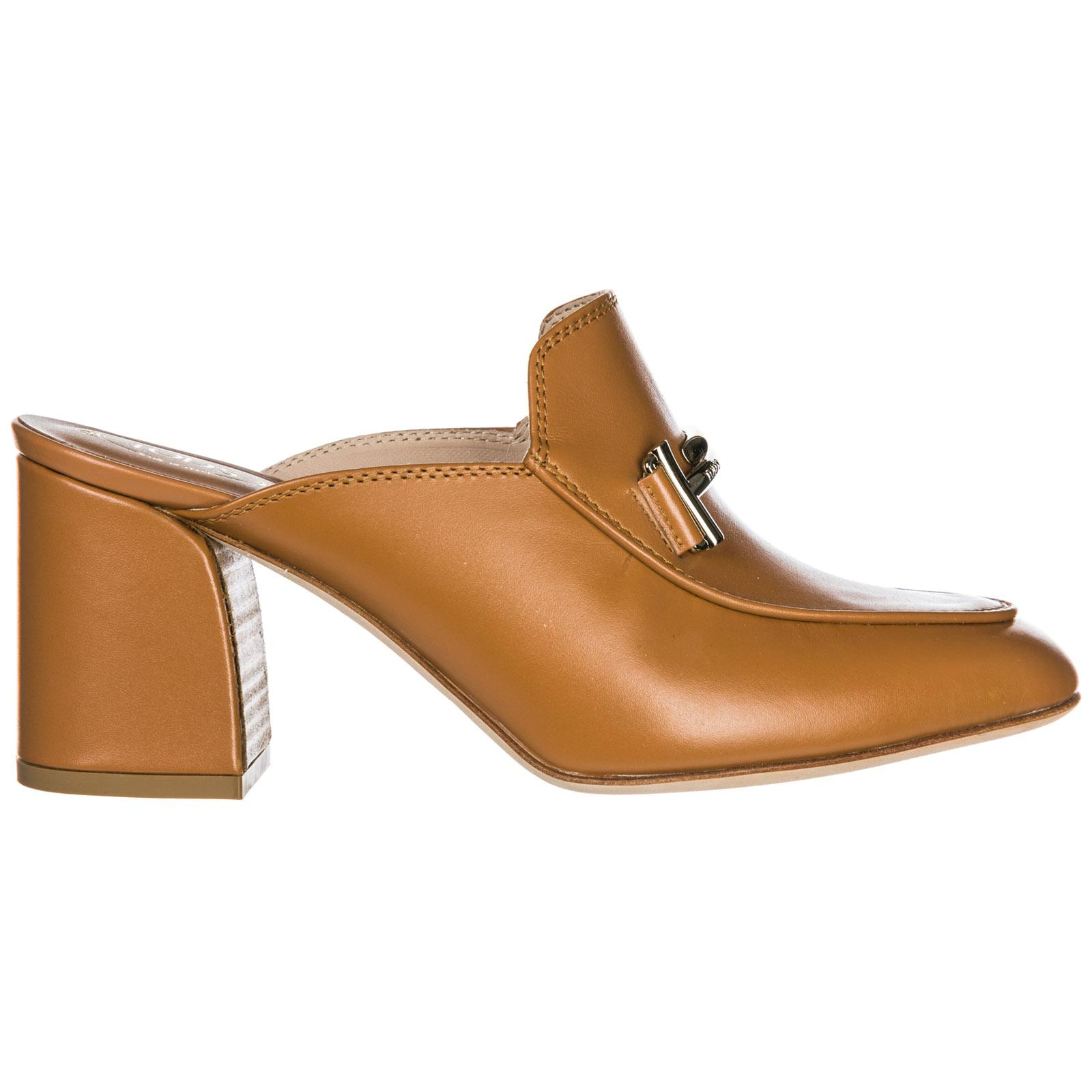 Tod's Women's Leather Mules Clogs Double T In Brown