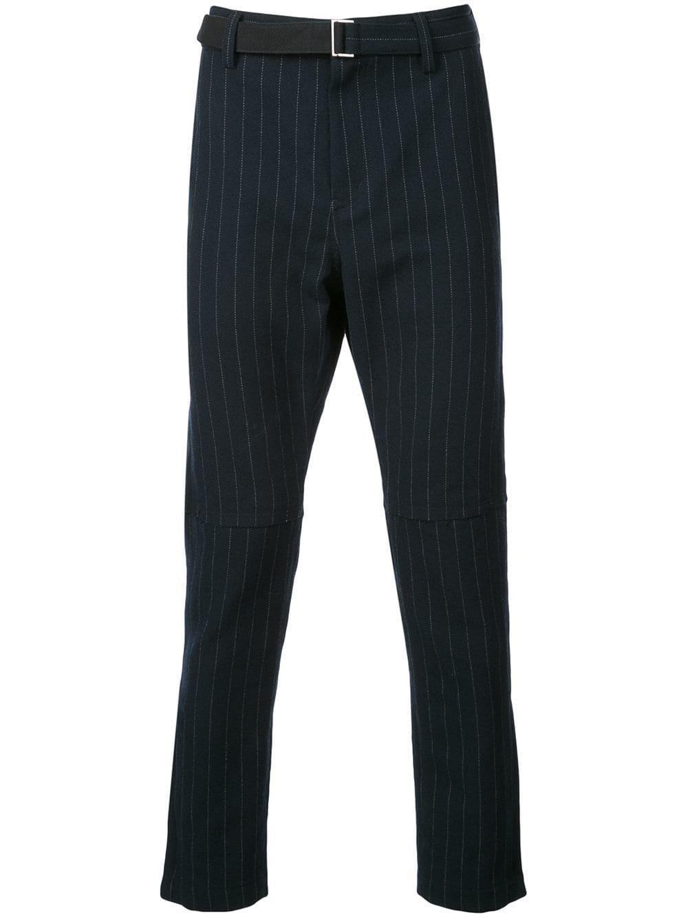 Sacai Belted Pinstripe Trousers - Black