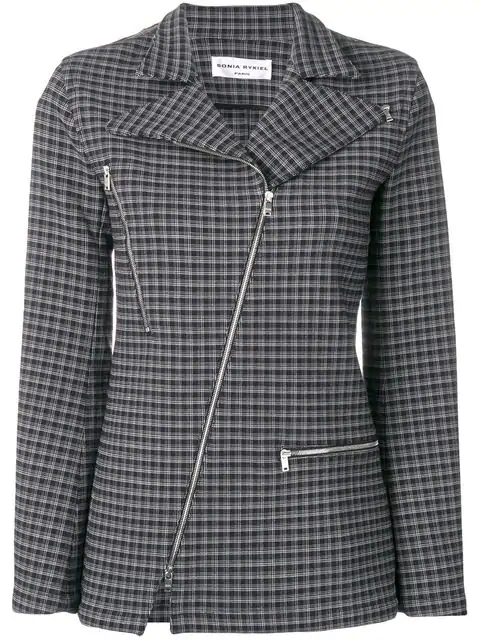 Sonia Rykiel Check Zipped Blazer In Black