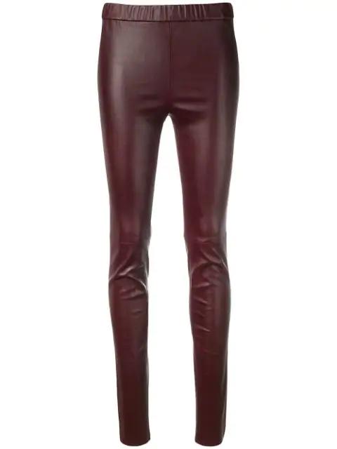 Sonia Rykiel Leather Leggings In Brown