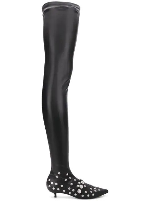 Sonia Rykiel Studded Thigh Boots In Black
