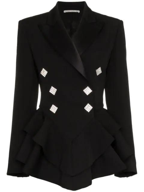 Alessandra Rich Ruffle Crystal Button Wool Tuxedo Jacket In 900 Black