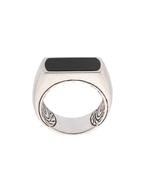 John Hardy Silver And Onyx Classic Chain Ring