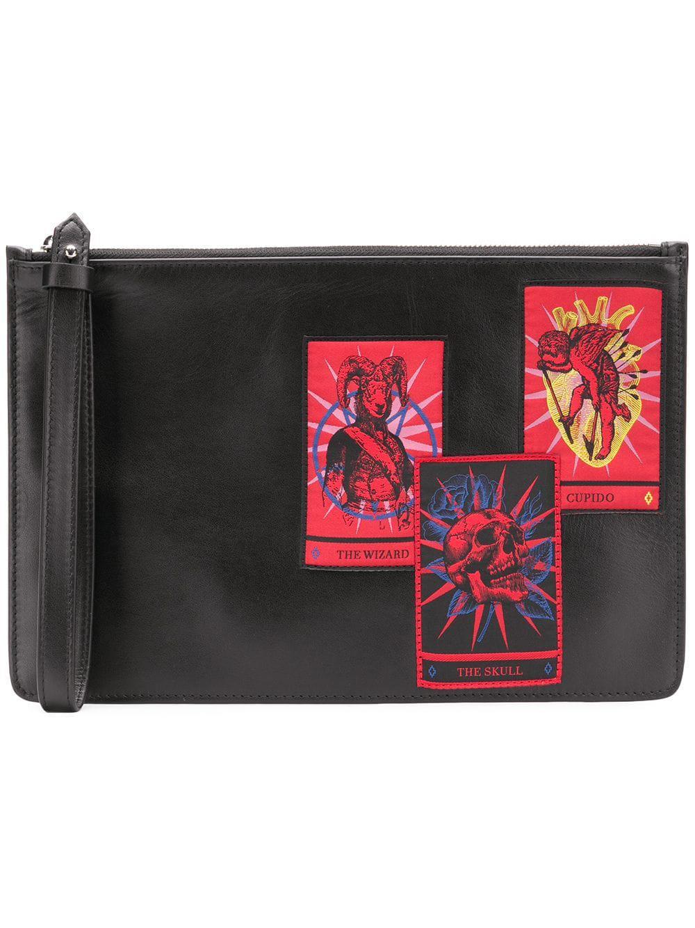Marcelo Burlon County Of Milan Tarot Clutch Bag In Black