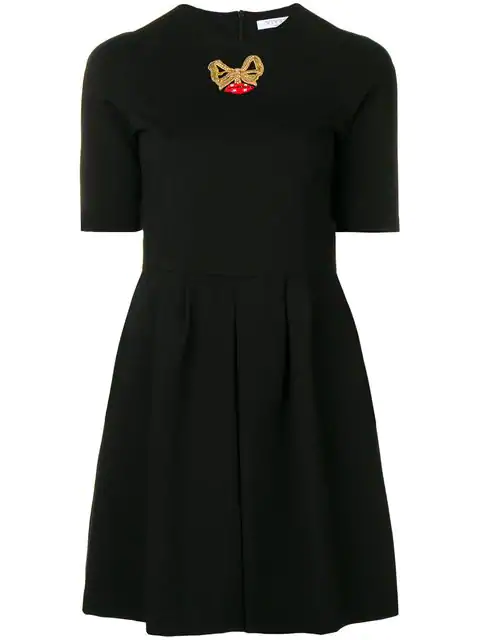 Vivetta Embroidered Bow Dress In 999 Black