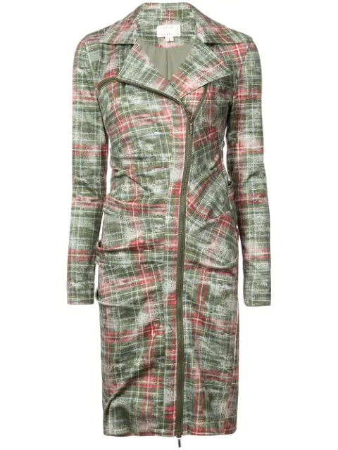 Nicole Miller Zipped Checked Dress In Green