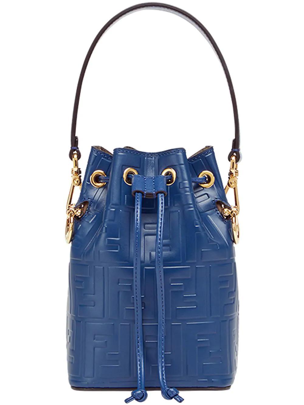 0c1e7f63a33b Fendi Mini Mon Tresor Embossed Bucket Bag - Blue