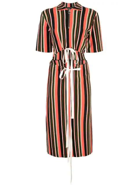 Proenza Schouler Drawstring Cutout-Waist Short-Sleeve Stripe-Knit Midi Dress In Yellow