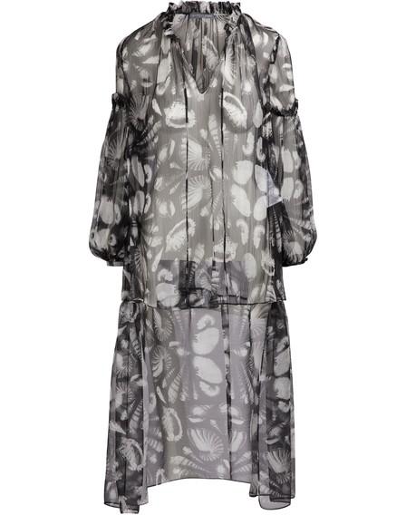 Alexander Mcqueen Long-Sleeve Cabinet Of Shells Dress-Back Georgette Blouse In 1080 - Black/Ivory