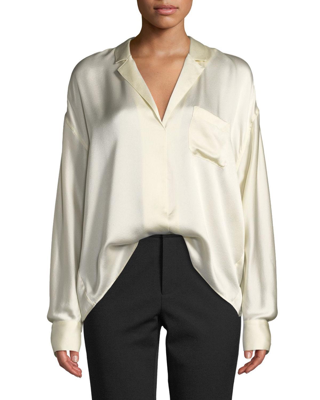 330f70eba60c2 Vince Long-Sleeve Silk Pajama Popover Blouse In Chiffon