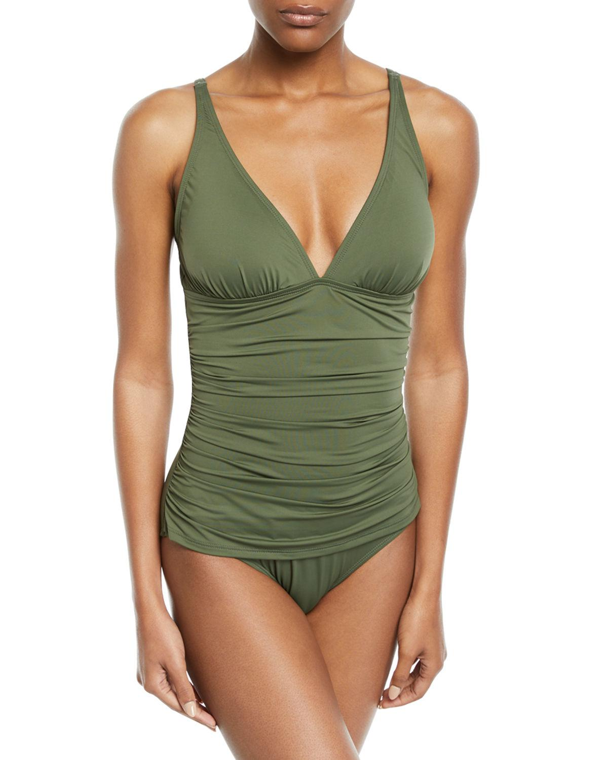 4914d7d44a5 Tommy Bahama Pearl Solids V Neck One Piece Swimsuit In Green   ModeSens
