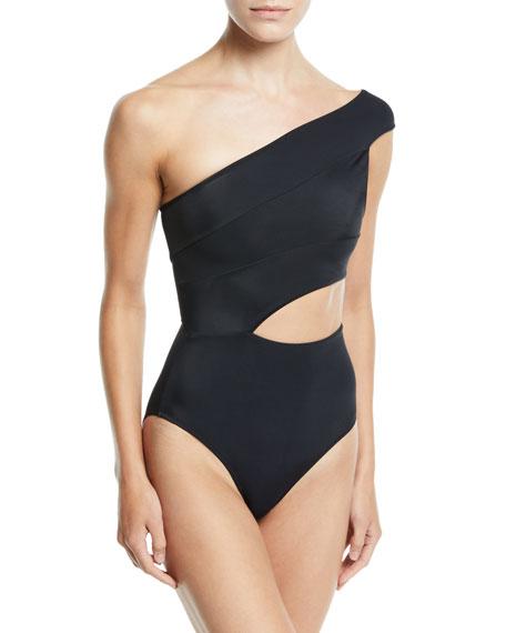 90412a91b7d Oye Swimwear Veronique One-Shoulder One-Piece Swimsuit In Black ...