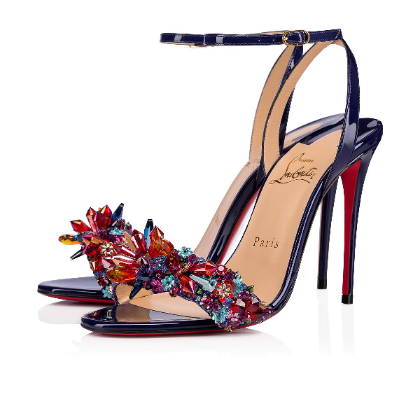 Christian Louboutin Multiqueen Crystal Patent Red Sole Sandals In Nomade