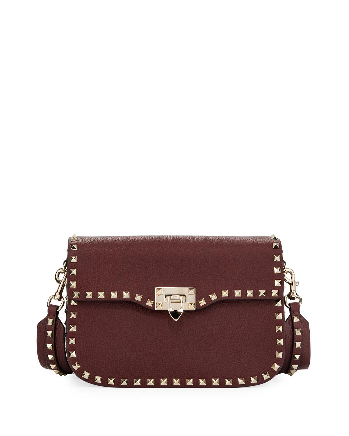 a6666eefe1 Valentino Rockstud Medium Leather Saddle Shoulder Bag In Dark Red ...
