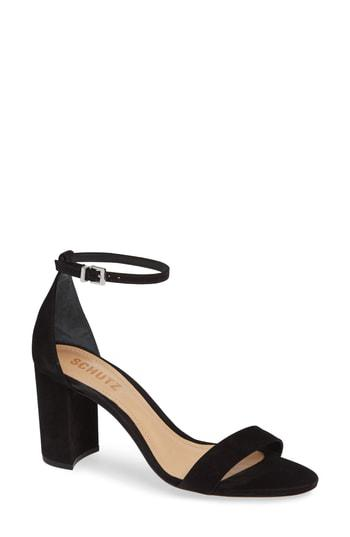 2f86e0af1697 Schutz Anna Lee Ankle Strap Sandal In Black Nubuck Leather