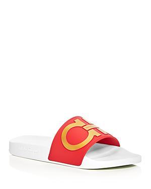 ea12b0c281c94 Salvatore Ferragamo Men S Double Gancini Slide Sandals In Red Gold ...