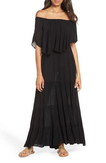 ad0208ec411 Elan Off The Shoulder Ruffle Cover-Up Maxi Dress In Black | ModeSens