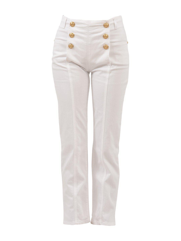 d7eb80bc Balmain Button Detail High Waist Jeans In White | ModeSens