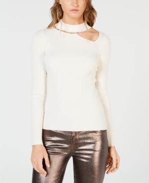 b9c19b0429d Guess Mock-Neck Asymmetrical-Cutout Sweater In Whisper White