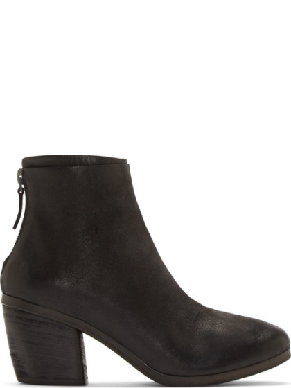 MarsÈLl Black Deer Leather Ankle Boot In Black Speckled
