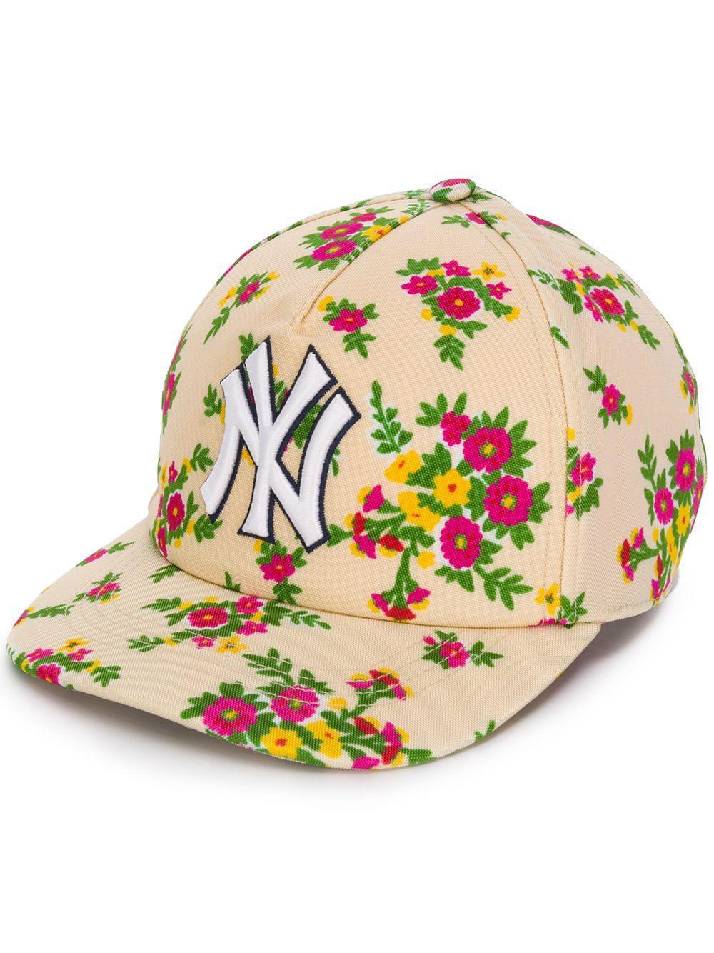 626ae226b4f0c2 Gucci Ny Yankees Floral Cap - Neutrals | ModeSens
