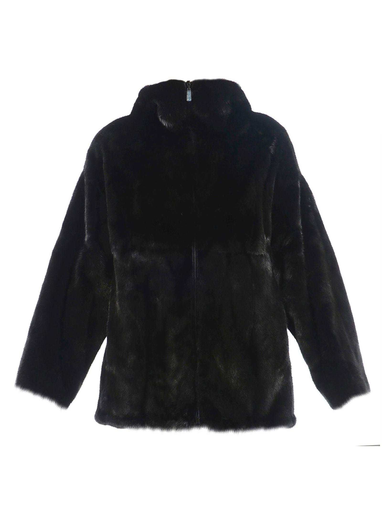 Prada Fur Coat In Black