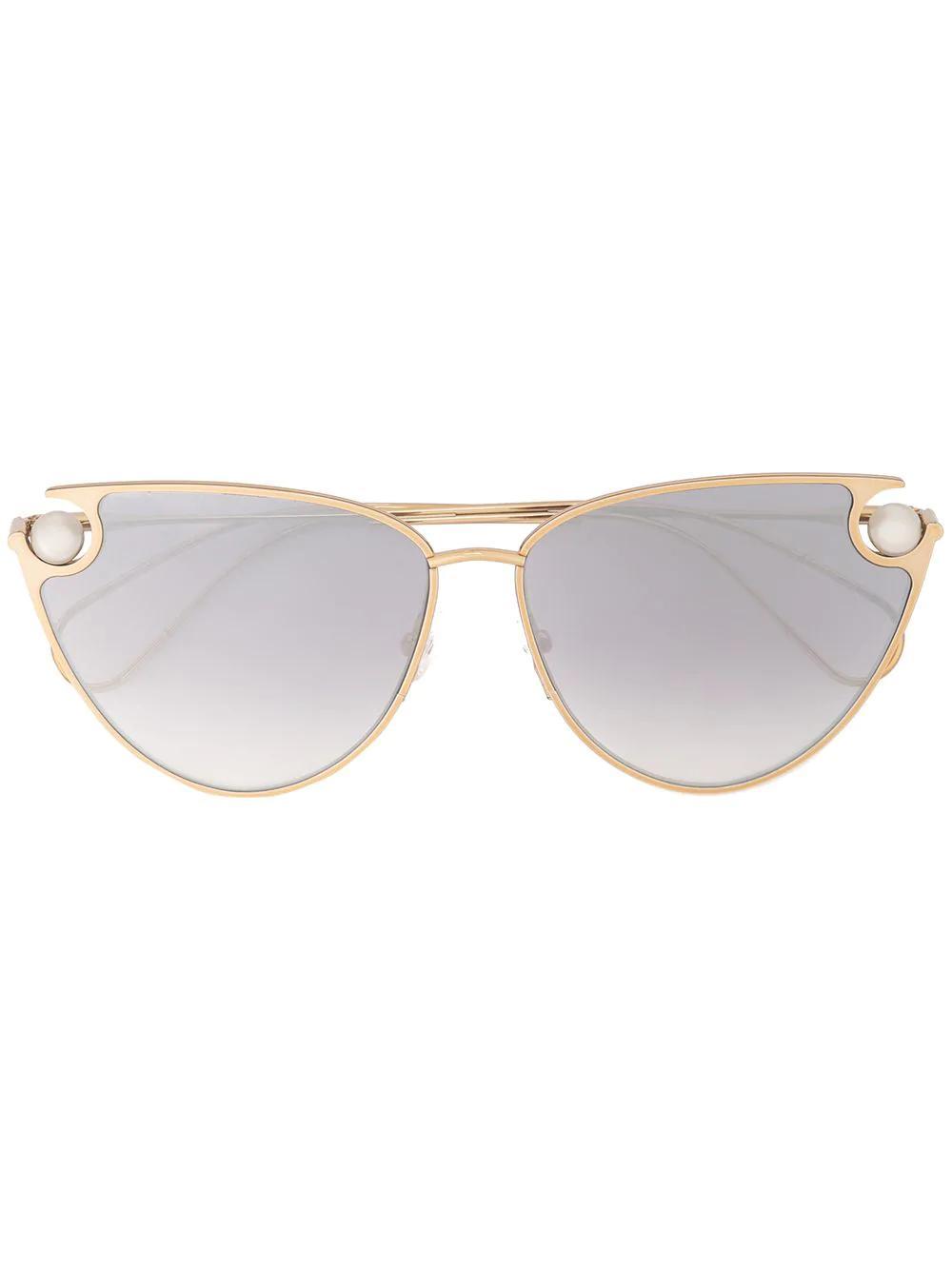 f083bd583d Christopher Kane Eyewear Pearl Embellished Cat Eye Sunglasses - Gold ...