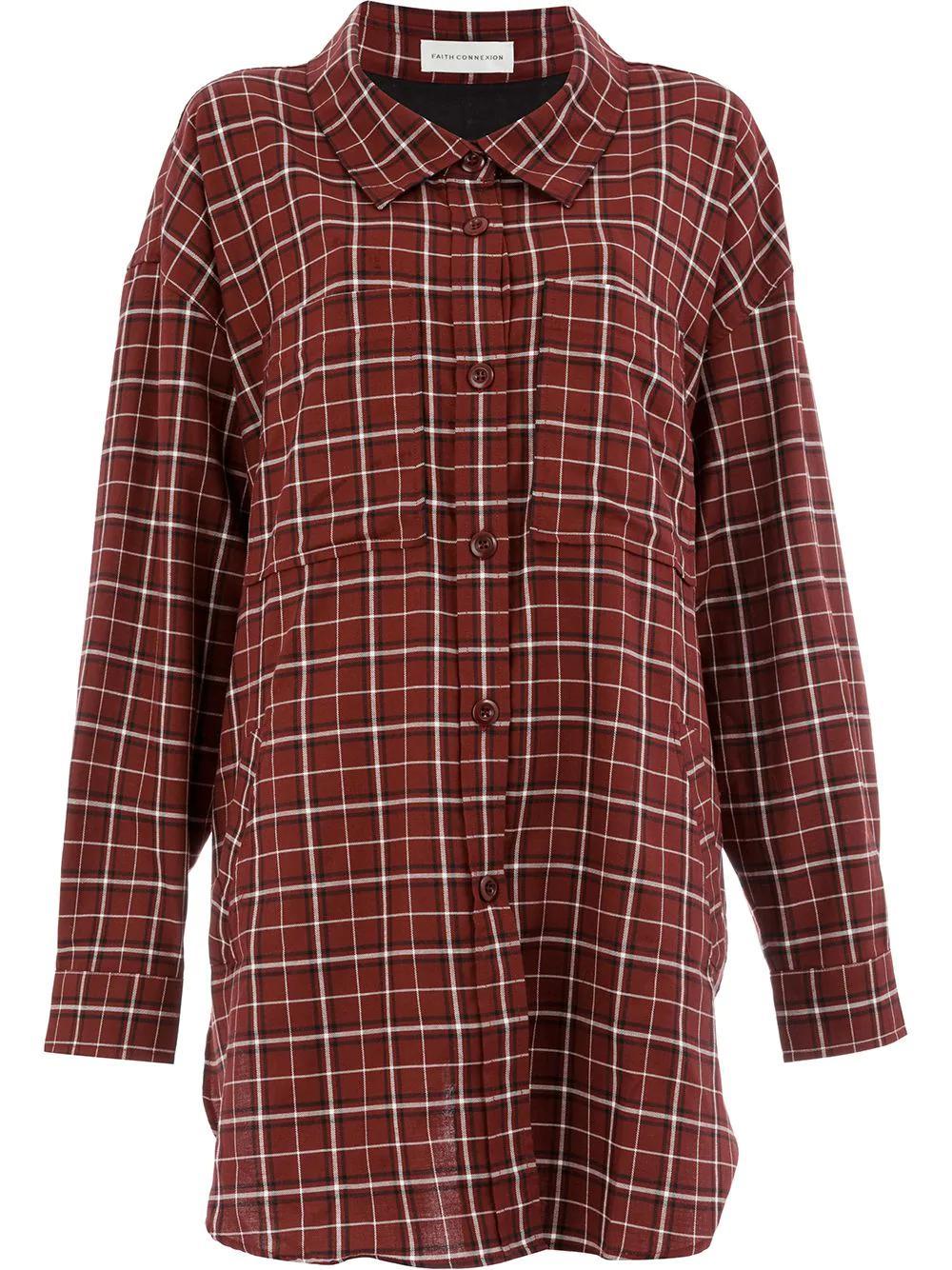 052556e7e4 Faith Connexion Oversized Checked Shirt In Red | ModeSens