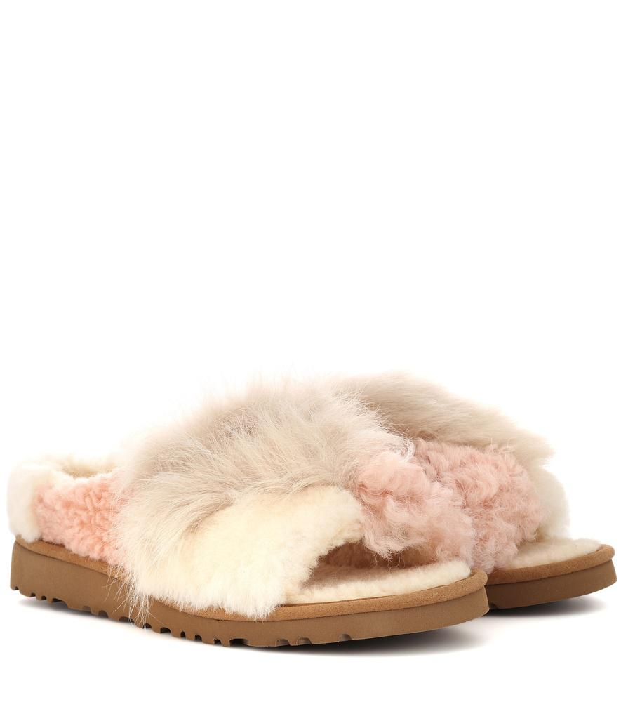 2bcce35fadb Patchwork Fluff Shearling Slippers in Beige
