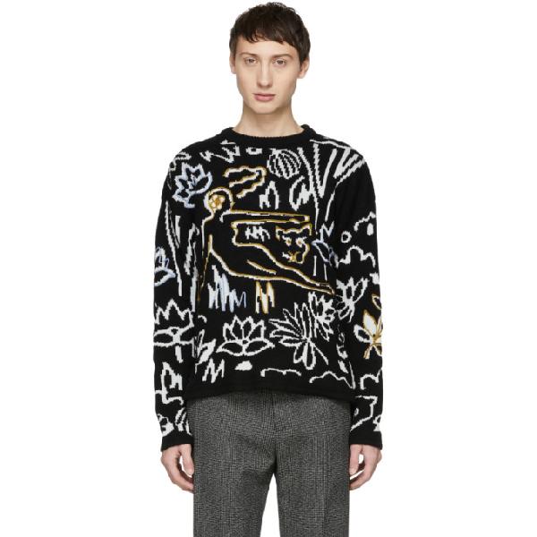 7b2e1a114ae Kenzo Black And White Sketch Memento Sweater In 99 Black   ModeSens