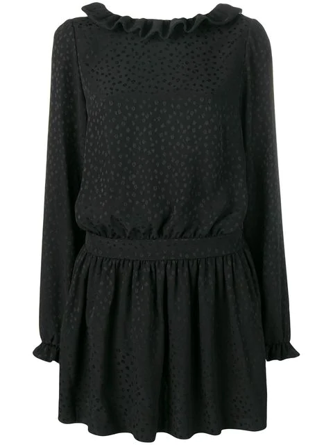 Saint Laurent Long-Sleeved Silk Minidress In Black