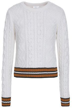 A.L.C . Woman Alpha Striped Merino Wool-Blend Sweater White