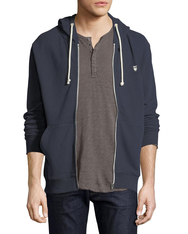 f306b19ba Knowledge Cotton Apparel Men's Basic Logo Long-Sleeve Hoodie In Dark Blue