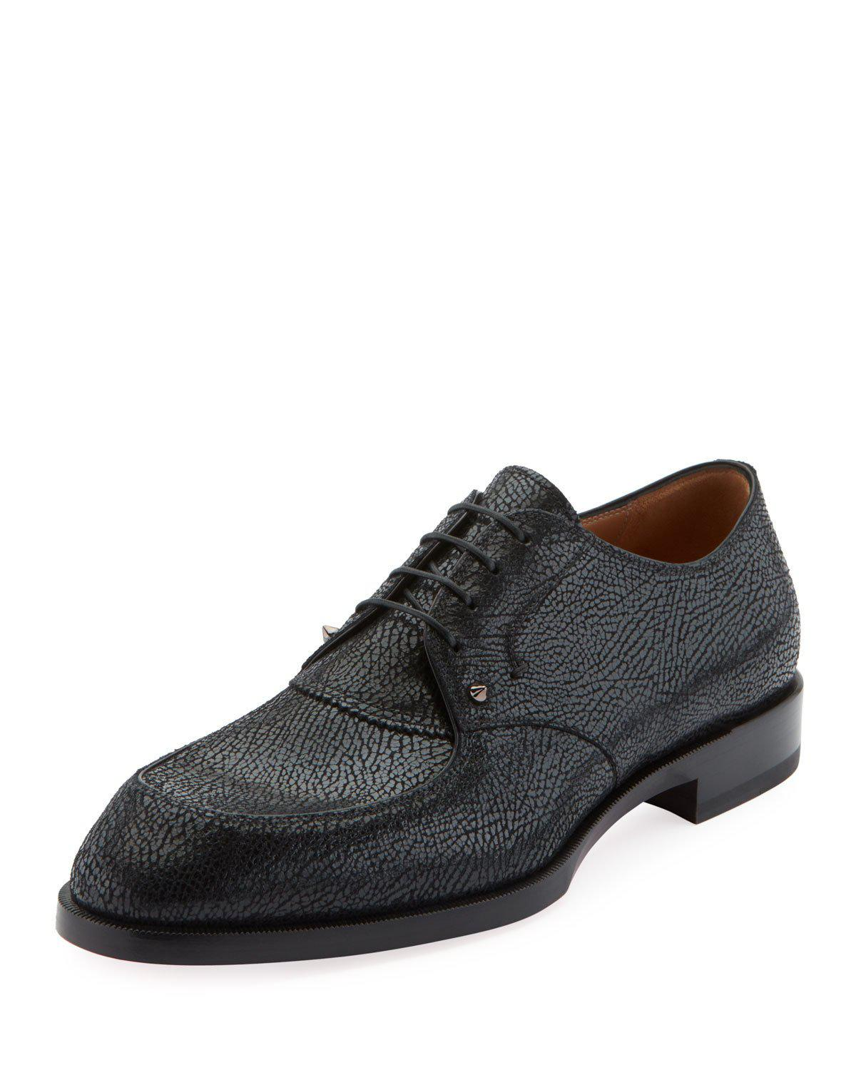 Christian Louboutin Men's Thomas Iii Textured Leather Lace-Up Shoes In Black