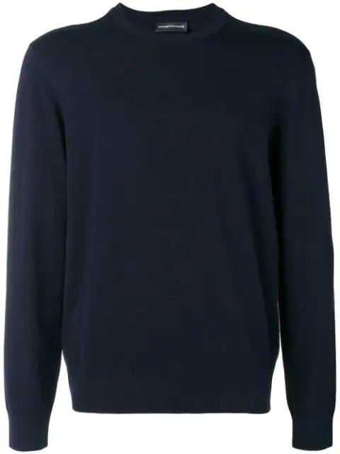 Emporio Armani Crew Neck Sweatshirt In Blue