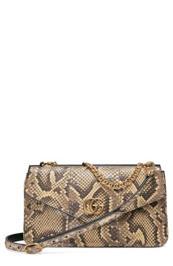 456edc46cdc3ea Gucci Thiara Genuine Python & Leather Shoulder Bag - Beige In Beige/  Natural Yellow/