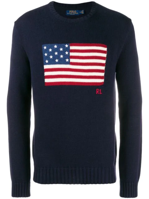 Men's In Blue Cotton American Sweater Flag 6ybf7g