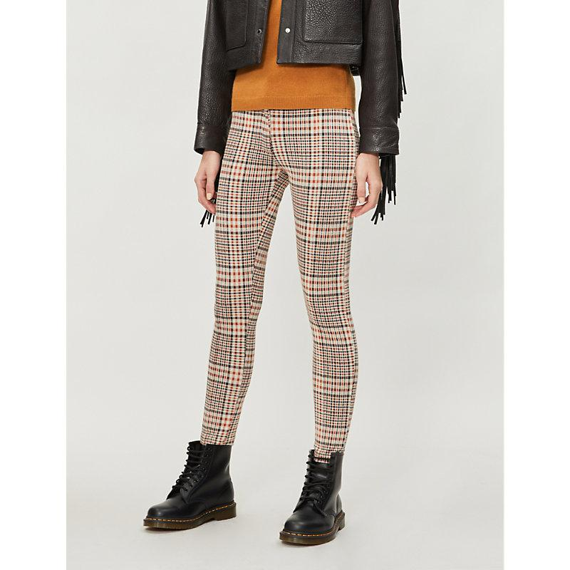 Free People Carnaby High Rise Plaid Stretch Knit Skinny Trousers In Orange Combo Modesens