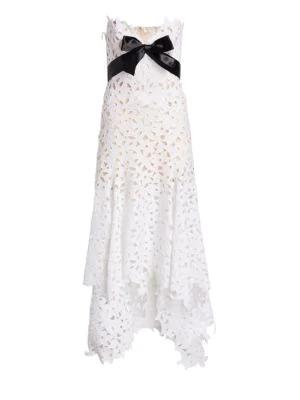 956accb76870 Oscar De La Renta Strapless Eyelet-Lace Evening Gown W/ Satin Bow In White