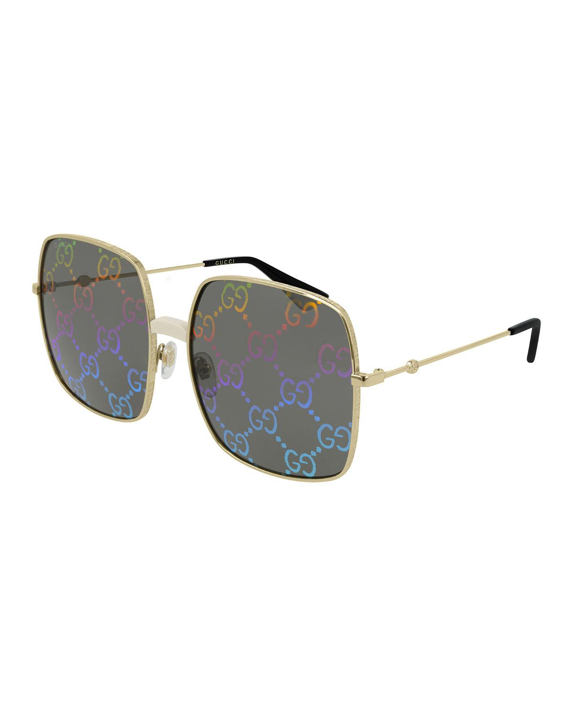 50465d86e92 Gucci Rectangular-Frame Metal Sunglasses W  Gg Pattern Lenses In Gold