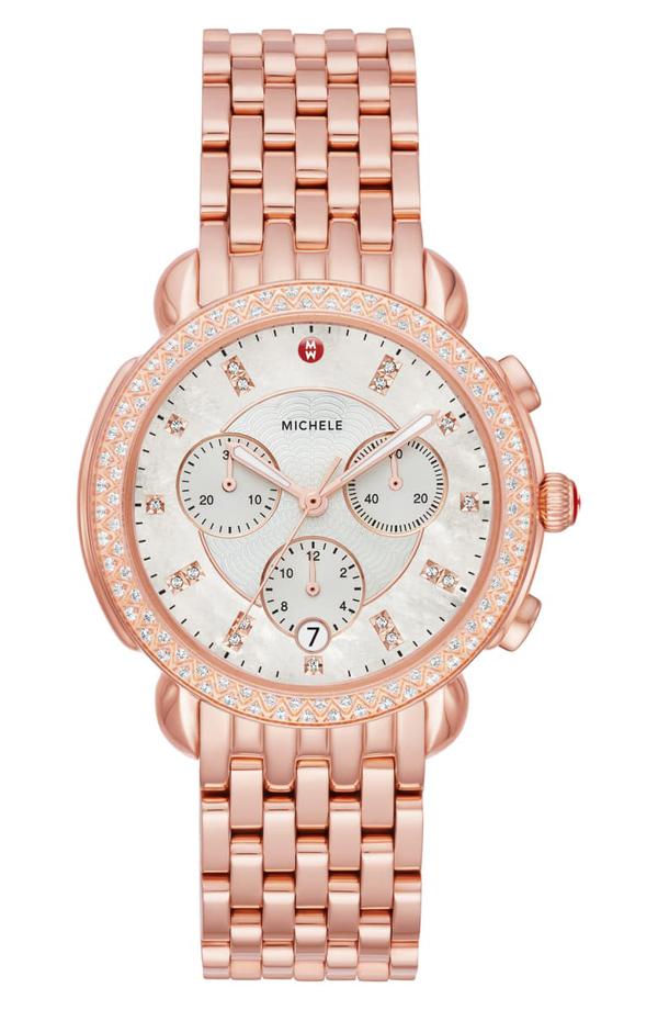 Michele Sidney 18 Chronograph Diamond Watch Head & Bracelet, 38mm In Rose Gold/ Mop/ Rose Gold