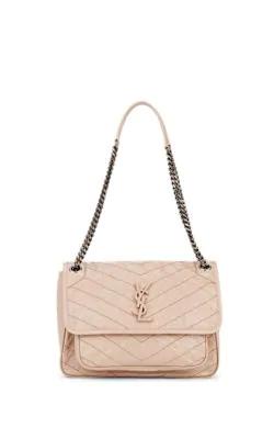 0fda4bc16b Saint Laurent Niki Medium Monogram Ysl Shiny Waxy Quilted Shoulder Bag In  Brown