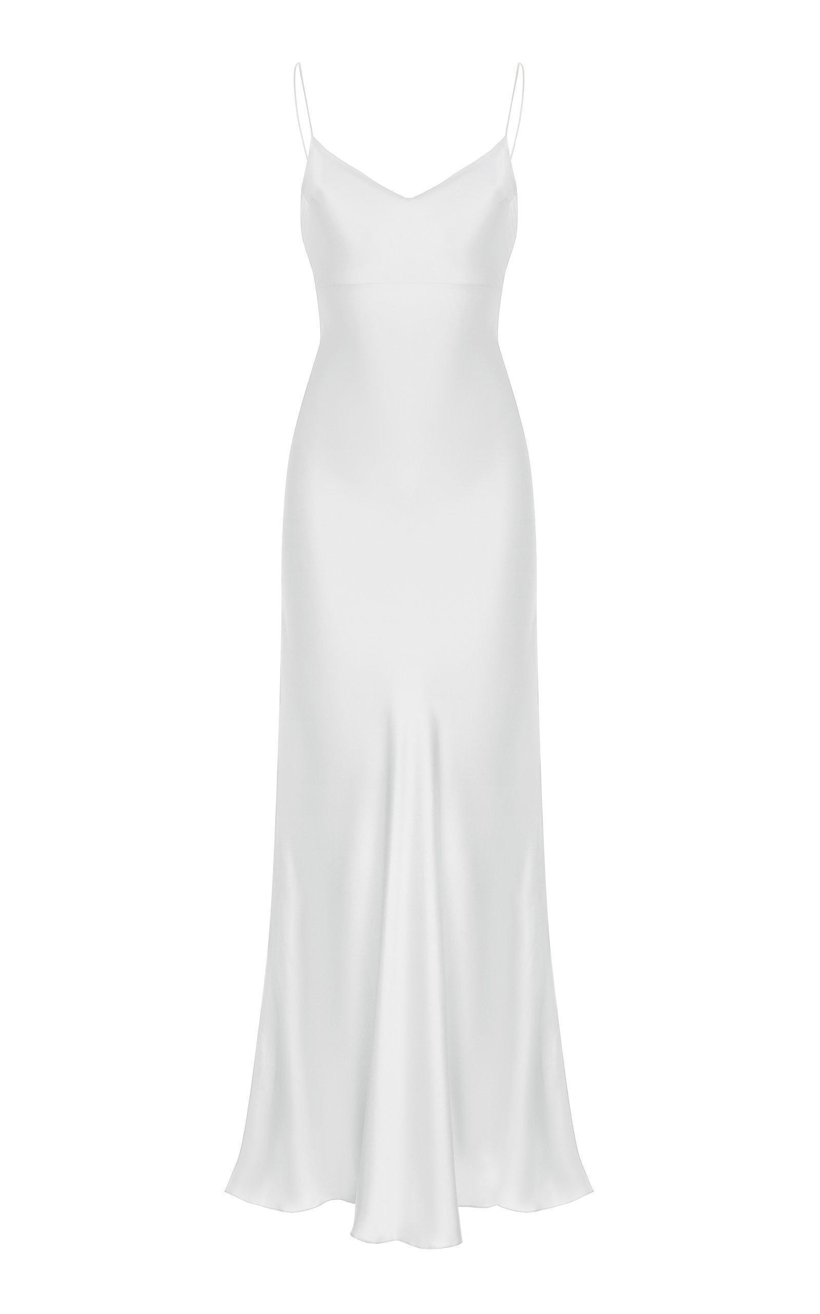 D Silk Sheath Dress In White