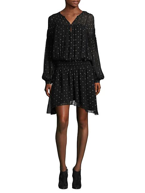 Joie Academia Printed Drop-Waist Dress In Caviar