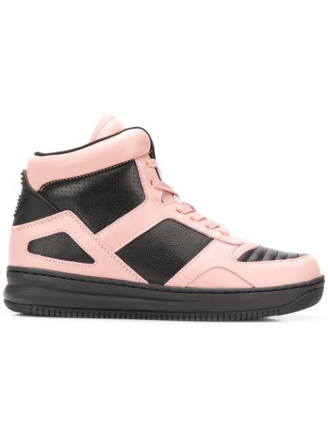 Emporio Armani Colour Block Hi-top Sneakers In Black